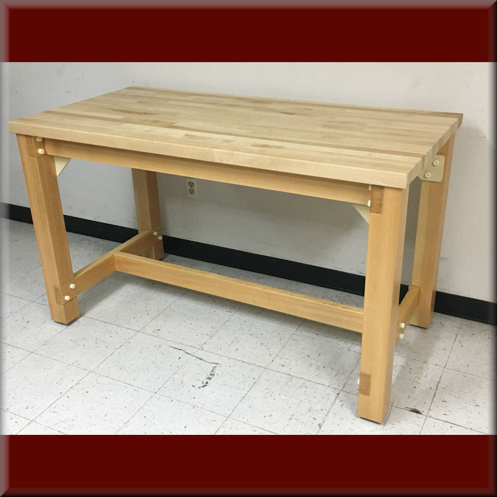 Table Model <span style='color: #800000;'><strong>A-109P-WD-NF</strong></span> – Flat Top Wood Frame Table (Non-Ferrous Construction)