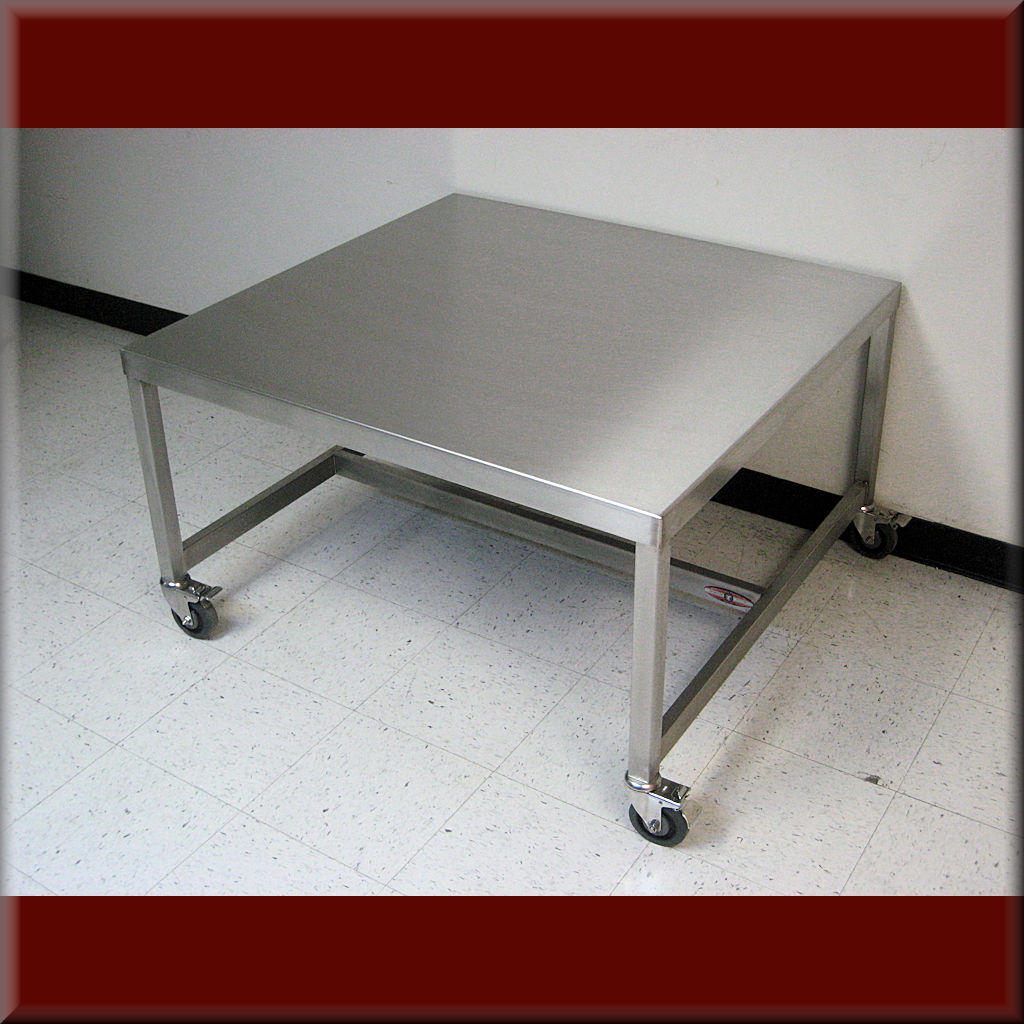 Table Model A-109P-SS-CSTR – Stainless Steel Flat Top Table with Casters