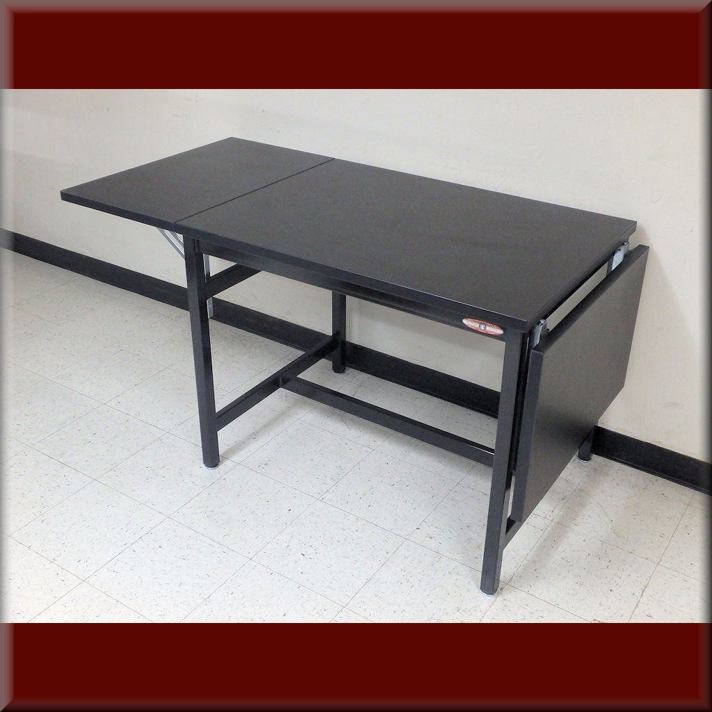 Table Model <span style='color: #800000;'><strong>A-109P-DROP</strong></span> – RDM Flat Top Table with Drop-Leaf Extensions