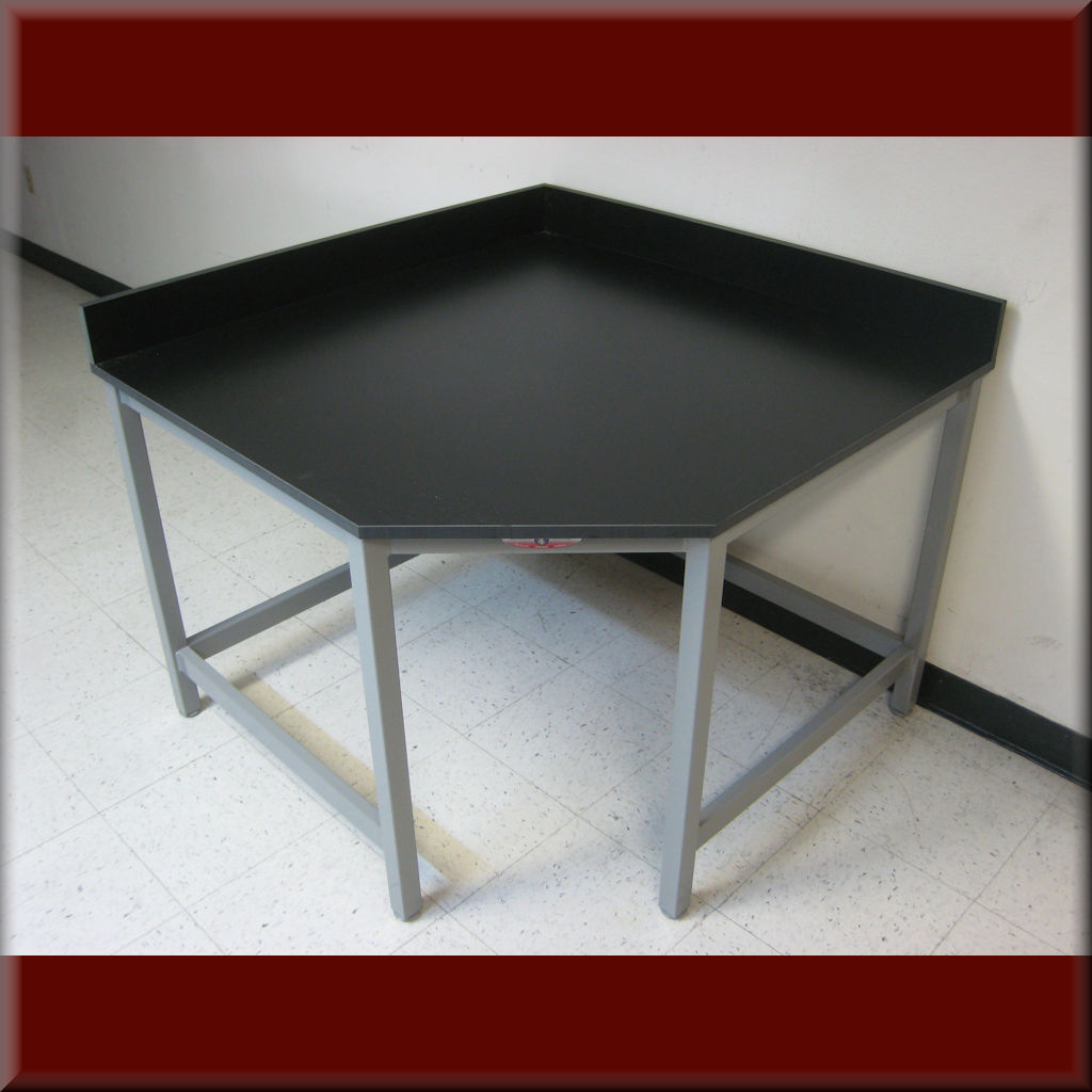 Table Model <span style='color: #800000;'><strong>A-109P-CNR45</strong></span> – Flat Top 45-Degree Corner Workbench