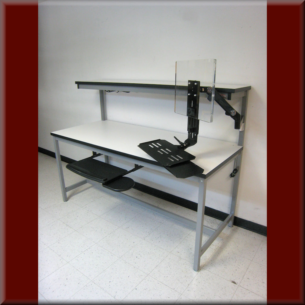 Table Model <span style='color: #800000;'><strong>F-103P-ESD</strong></span> – Tech Style ESD Workbench with Upper Shelf