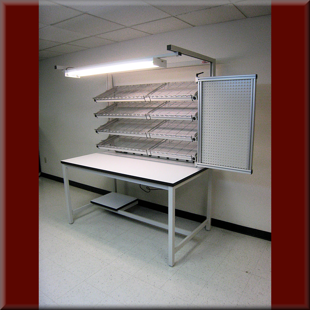 Table Model <span style='color: #800000;'><strong>FR-104P</strong></span> <BR> – Flow Rack Shelf Workstation