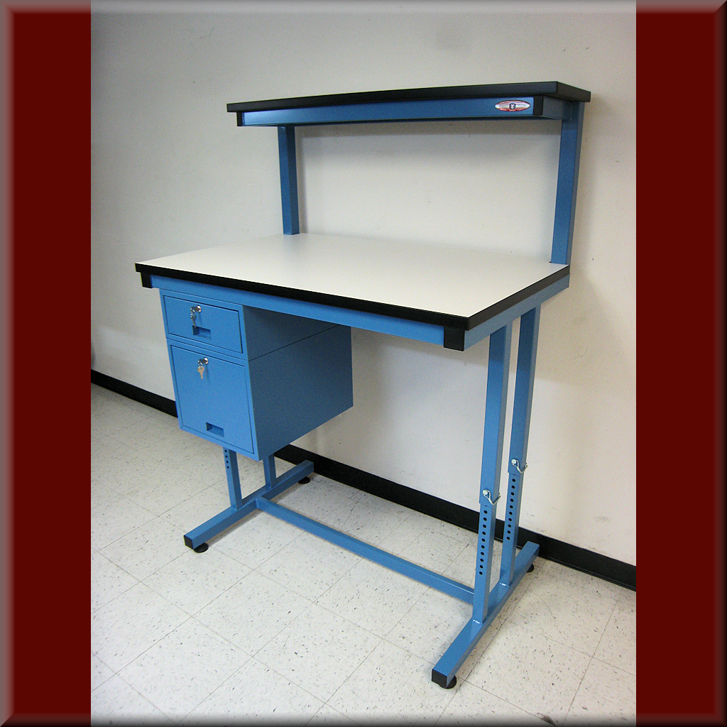 Table Model i-103P-PIN – Adjustable-Height i-Frame Tech Style Workbench w/ Fixed Upper Shelf