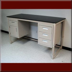 Laboratory Workbench with Suspended Cabinets - A-109P-LAB-PIN-CAB-01