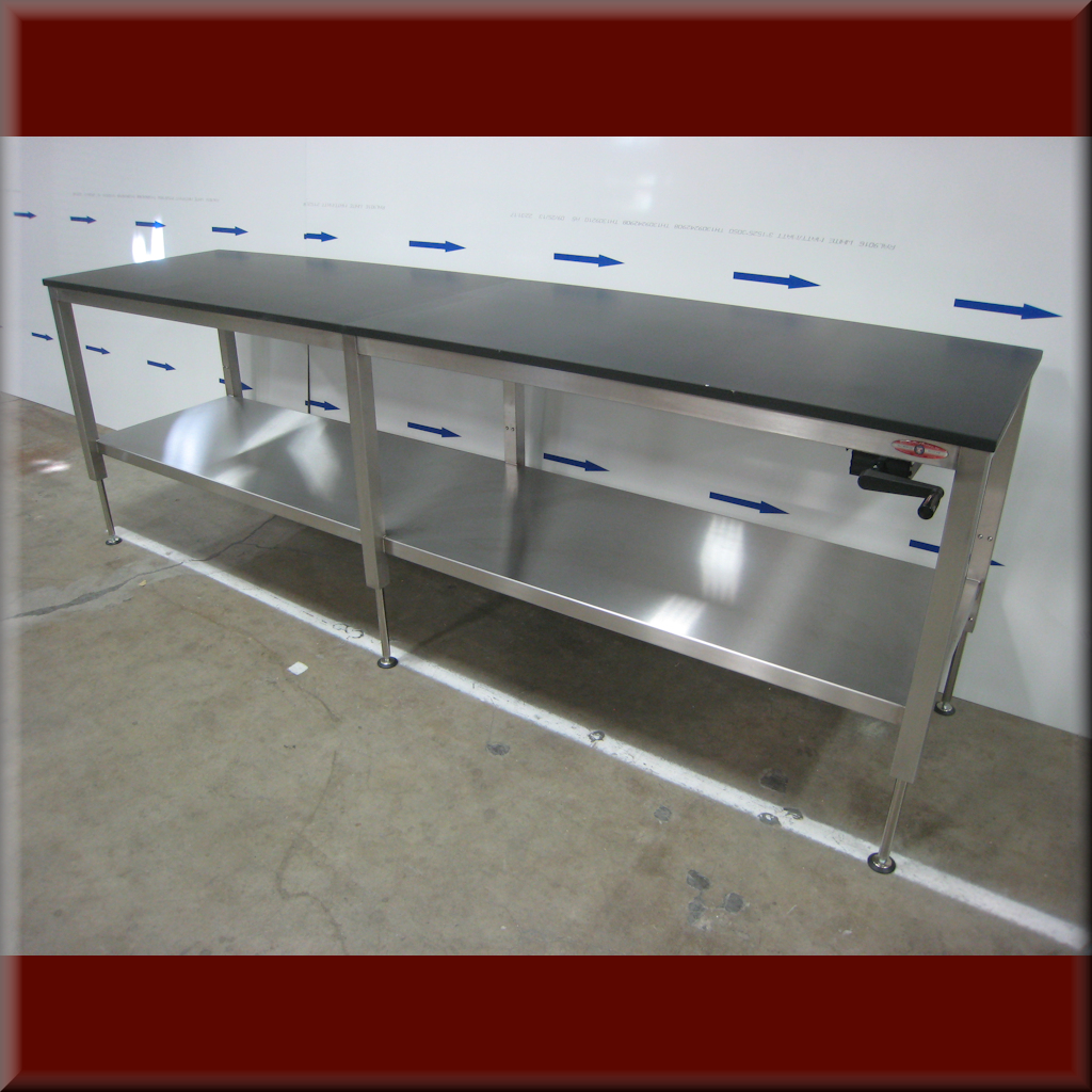 Table Model A-107P-SS-CLG – Stainless Steel Workbench w/ Center Legs & Hydraulic Lift